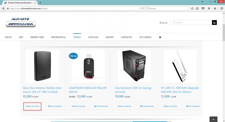 AlicanteInformatica tienda online - Comprar con tarjeta a través de Paypal