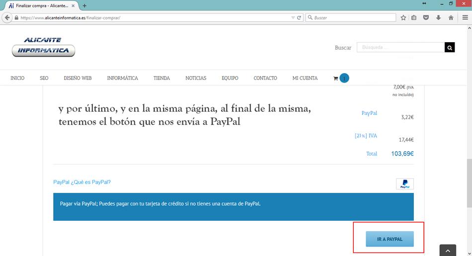 alicante informatica paypal - Comprar con tarjeta a través de Paypal